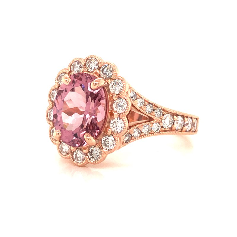 Cline Custom Garnet and Diamond Halo Ring