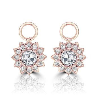 18k Rose Gold Diamond Earring Charms