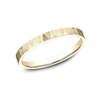 Yellow Gold Hammered and Satin Finish Band