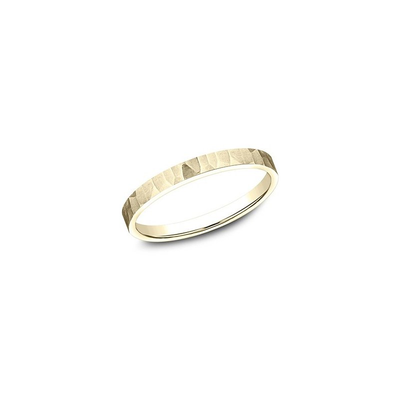 Cline Yellow Gold Hammered and Satin Finish Band