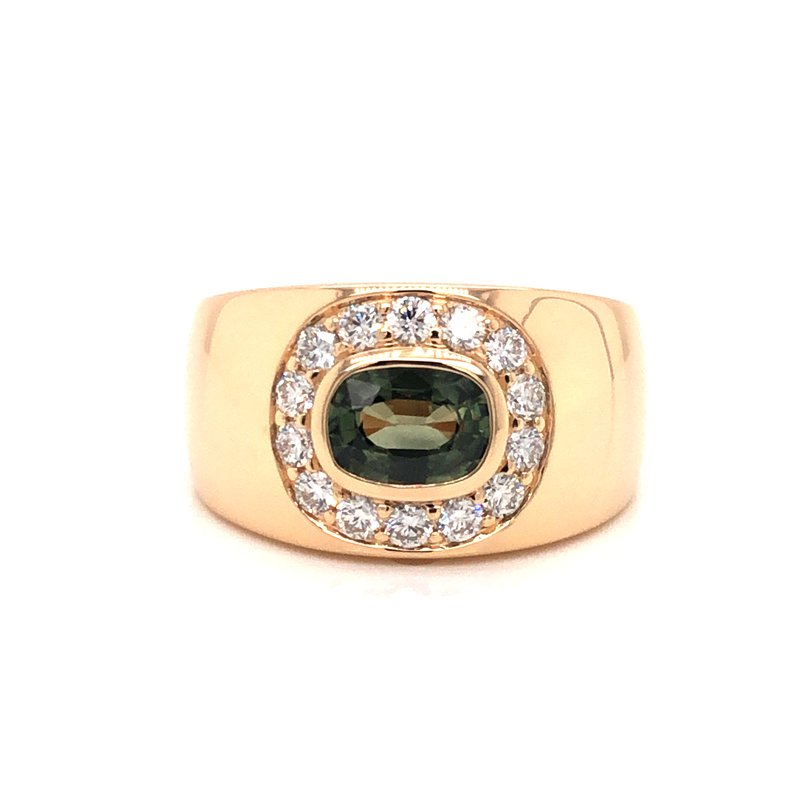 Cline Custom Green Sapphire and Diamond Ring