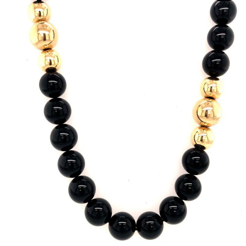 Cline Estate Black Onyx and Yellow Gold Bead Necklace