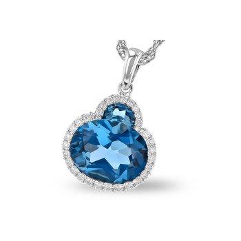 London Blue Topaz and Diamond Pendant