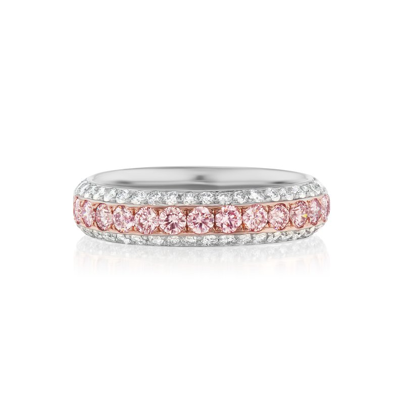 Cline Natural Pink and White Diamond Ring