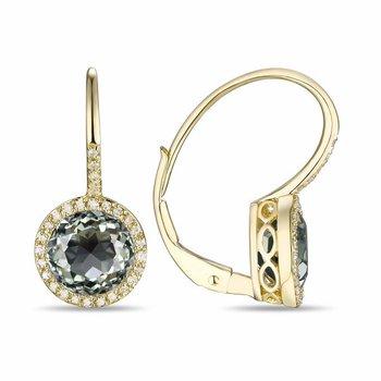 Diamond and Prasiolite Earrings