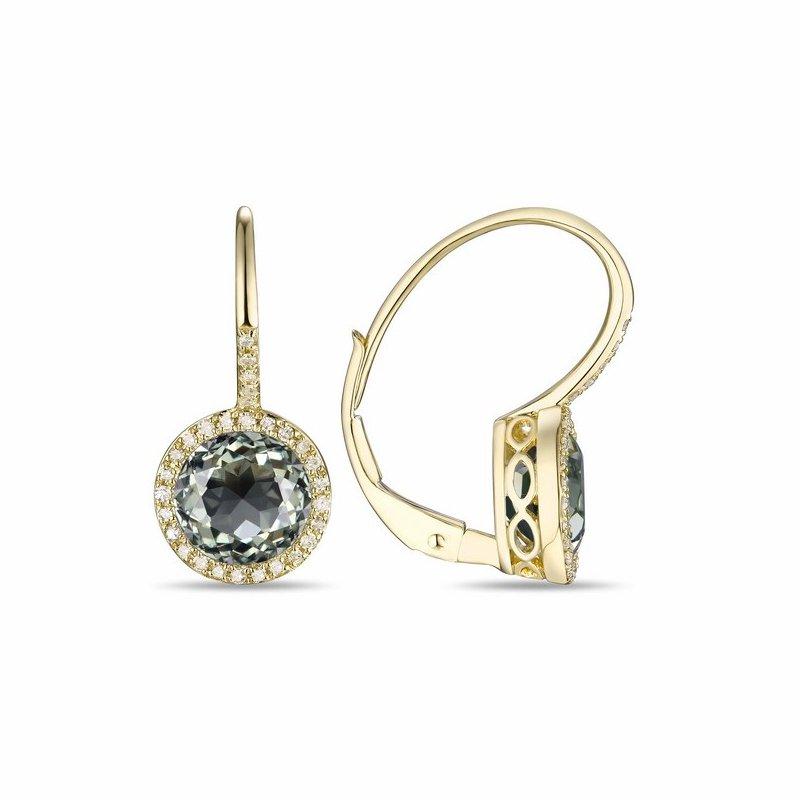 Cline Diamond and Prasiolite Earrings