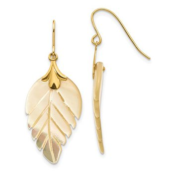 14K Yellow Gold Mother of Pearl Earrings
