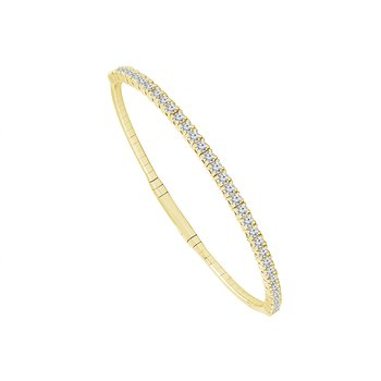 14k Yellow Gold Diamond Flexible Bracelet