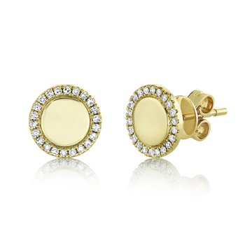 Disc Earrings with Diamond Halos
