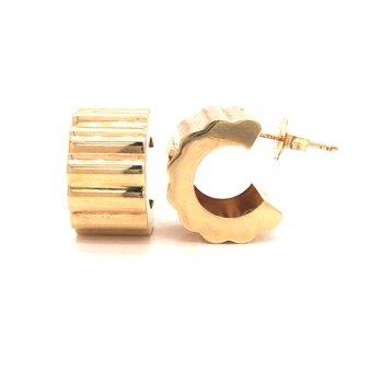 Estate Scalloped Hoop Style Earrings