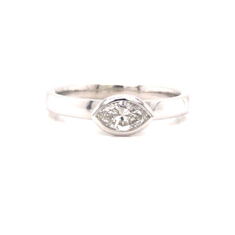 Cline Custom Bezel Set Marquise Diamond Ring