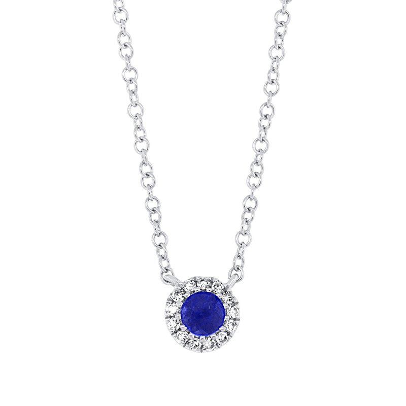 Cline 14K White Gold Diamond and Sapphire Necklace