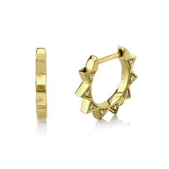 Diamond Spike Huggie Earrings