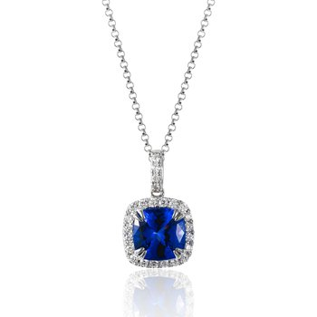 14k White Gold Tanzanite and Diamond Necklace