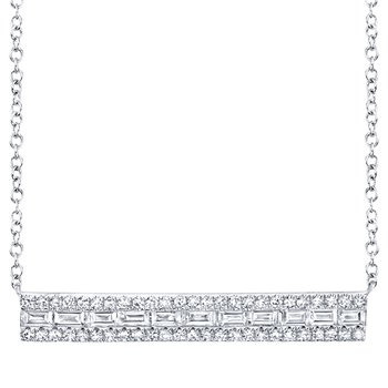 Baguette and Round Diamond Bar Style Necklace