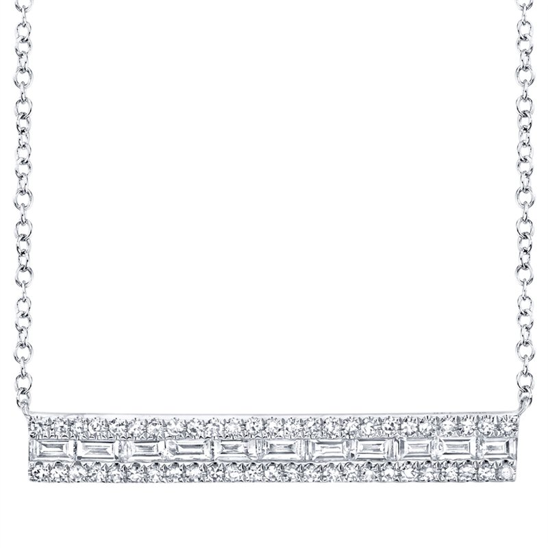 Cline Baguette and Round Diamond Bar Style Necklace