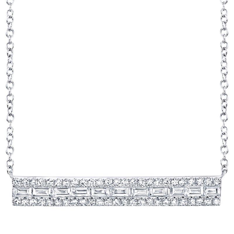 Cline 14k White Gold Diamond Bar Necklace