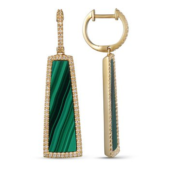 Malachite and Diamond Dangle Earrings