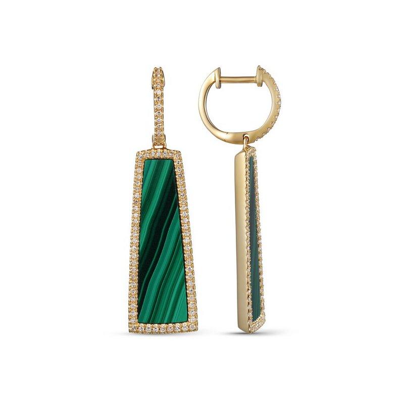Cline Malachite and Diamond Dangle Earrings