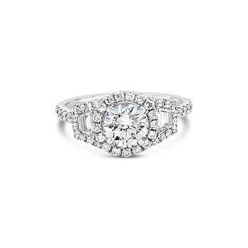 3-Stone Diamond Halo Ring