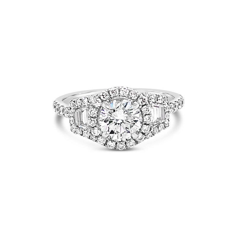 Cline 3-Stone Diamond Halo Ring