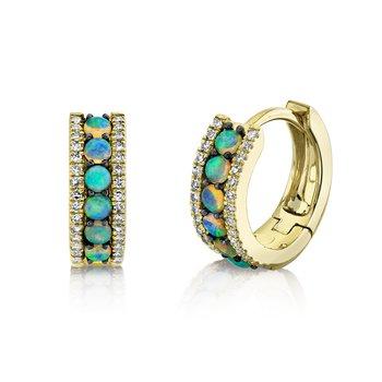 Opal and Diamond Huggie Earrings