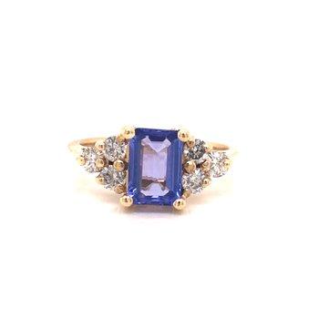 Estate Tanzanite and Diamond Ring