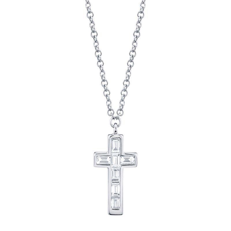 Cline 14k White Gold Diamond Cross Pendant
