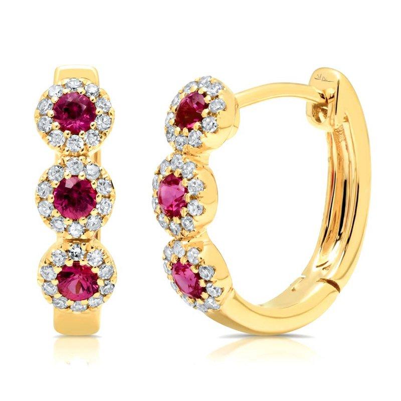 Cline Ruby and Diamond Huggie Earrings