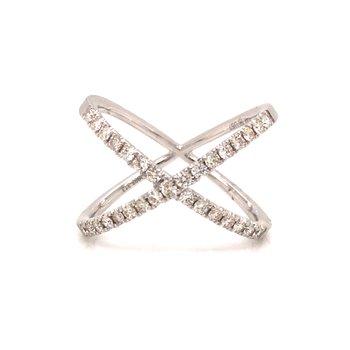 "14k White Gold Diamond ""X"" Ring"