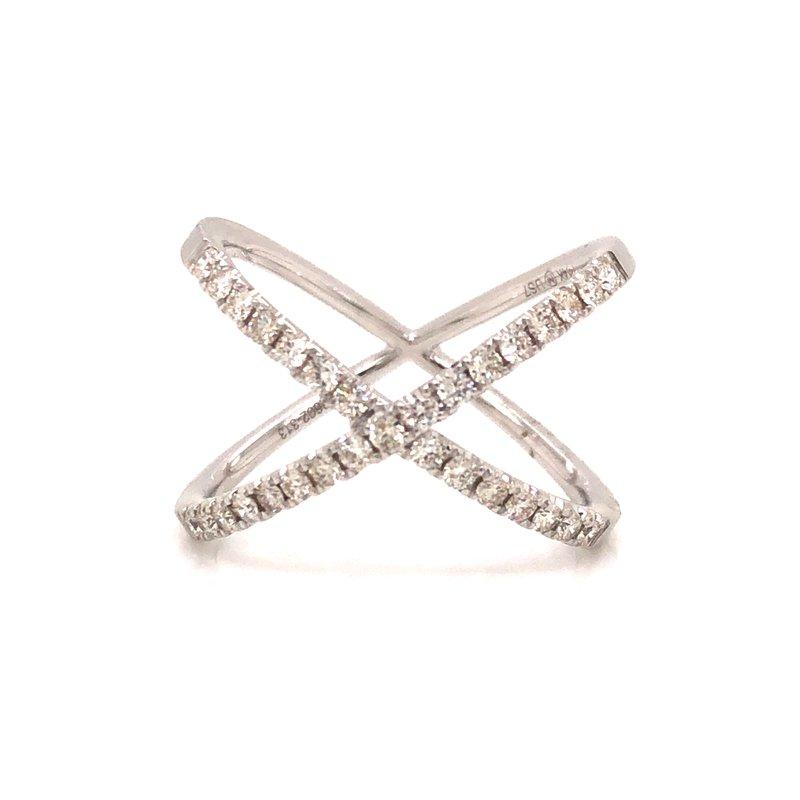 "Cline 14k White Gold Diamond ""X"" Ring"