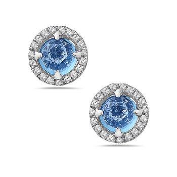 14k White Gold Blue Topaz and Diamond Earrings