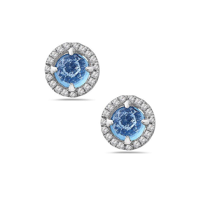 Cline 14k White Gold Blue Topaz and Diamond Earrings