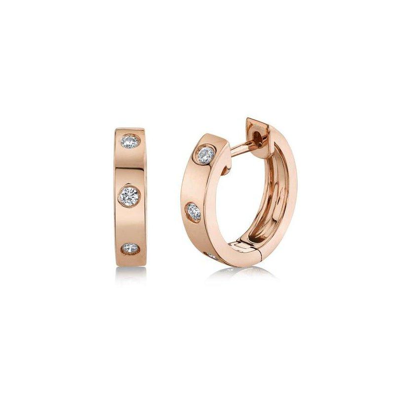 Cline 14k Rose Gold Diamond Huggie Earrings