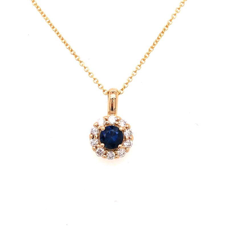 Cline Custom Blue Sapphire and Diamond Halo Pendant