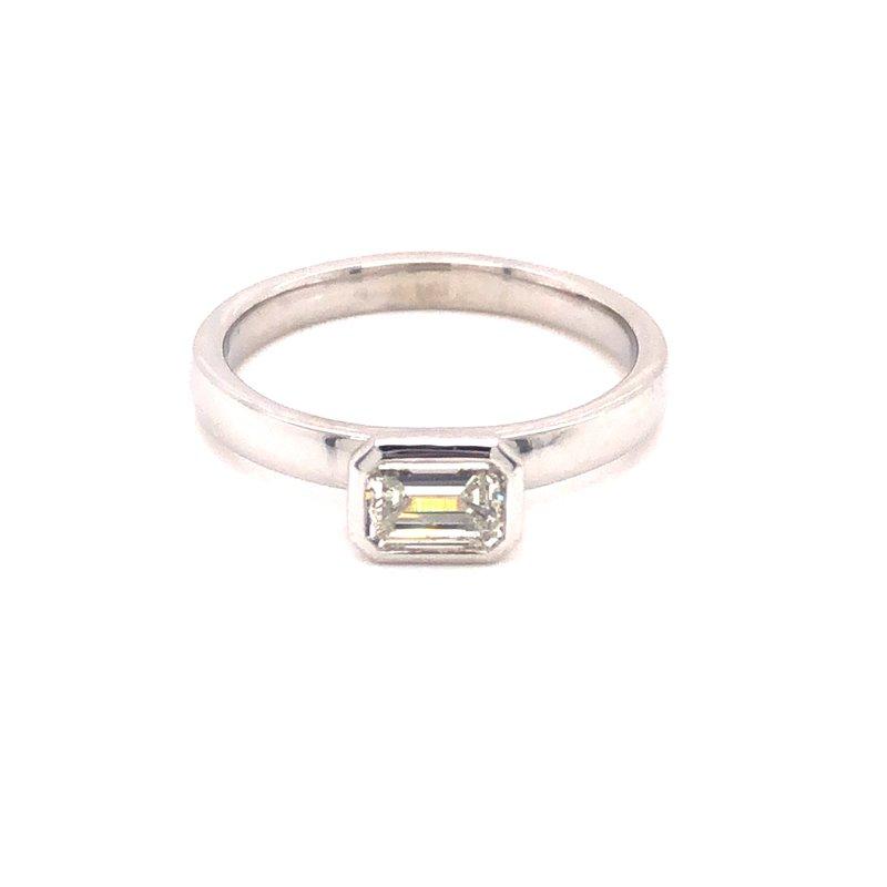 Cline Custom Bezel Set Emerald Cut Diamond Ring