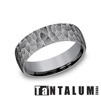 Gray Tantalum Band with Hammered Finish
