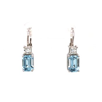 14k White Gold Aquamarine and Diamond Earrings