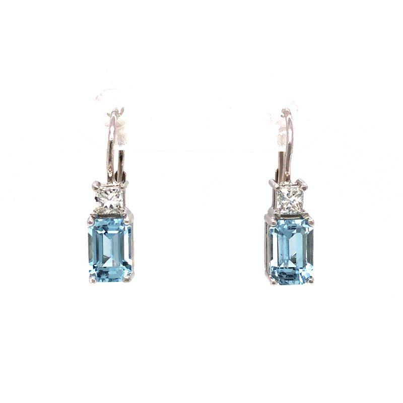 Cline Custom 14k White Gold Aquamarine and Diamond Earrings