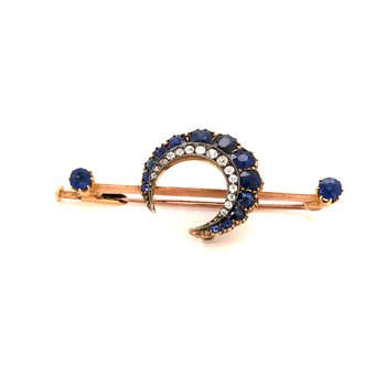 Estate Victorian Sapphire and Diamond Brooch