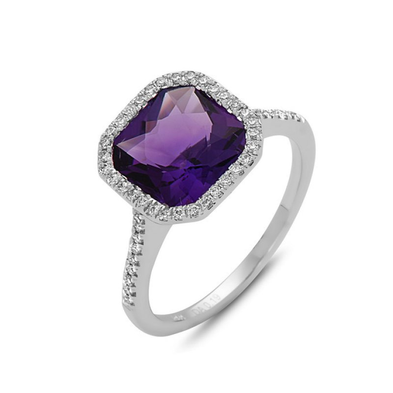 Cline Amethyst and Diamond Ring
