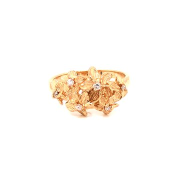 Estate 14k Yellow Gold Plumeria Ring