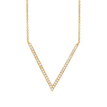 14k Yellow Gold Diamond V Shaped Necklace