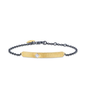 24k Yellow Gold and Oxidized Silver Bracelet