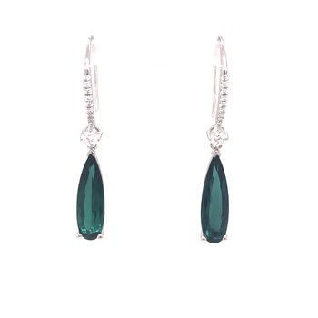 Green Tourmaline and Diamond Dangle Earrings