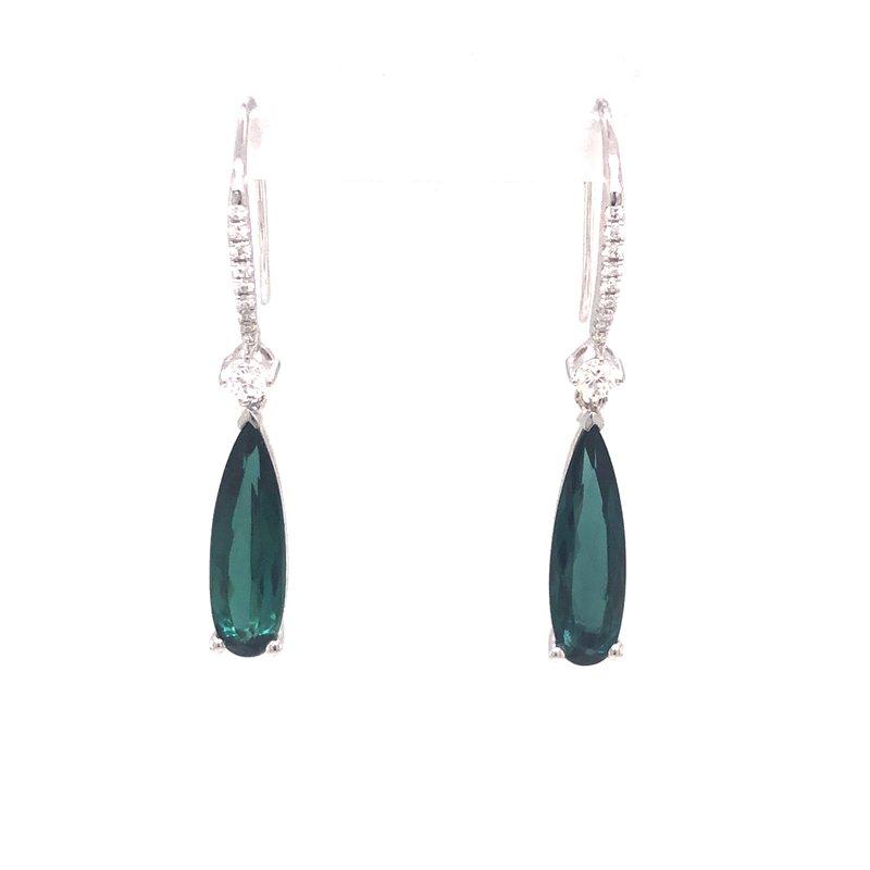 Cline Green Tourmaline and Diamond Dangle Earrings