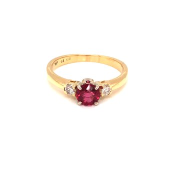Estate Red Spinel and Diamond Ring
