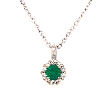 Cline Custom Emerald and Diamond Necklace