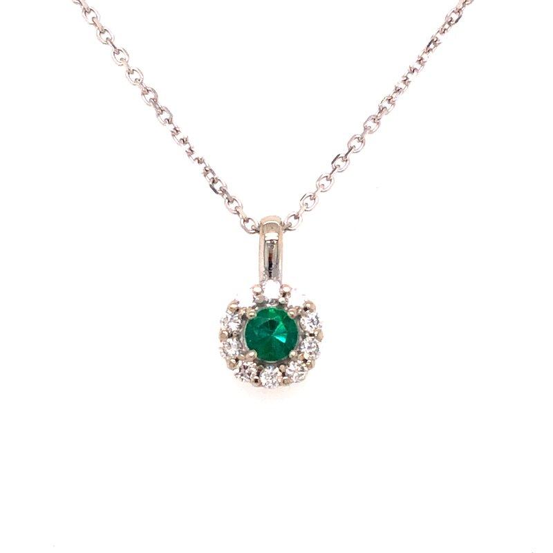 Cline Custom Emerald and Diamond Halo Necklace