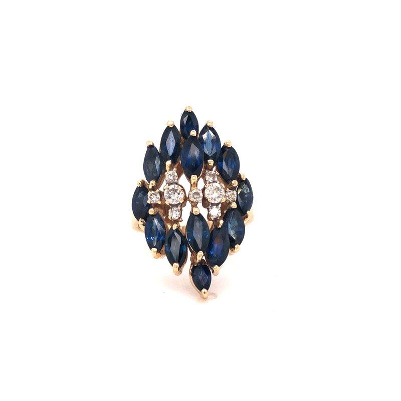 Cline Estate Blue Sapphire and Diamond Ring